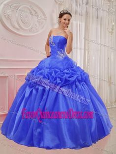 Princess Blue Ball Gown Strapless Sweet 15 Dresses Made in Organza and Taffeta