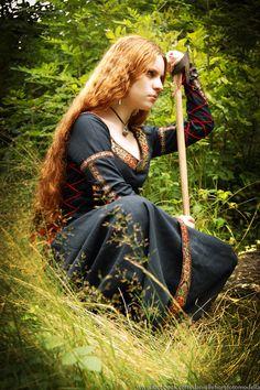 Pagan Tale by ~DanielleFioreModel on deviantART, forest maiden, fantasy, medieval Batman Christian Bale, Celtic Clothing, Medieval Clothing, Medieval Dress, Thor, Elf Cosplay, Dyed Red Hair, Hair Dye, Fantasy Costumes