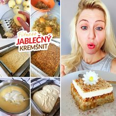 Fitness jablečný kremšnit - zdravý recept Bajola Cooking Recipes, Healthy Recipes, Recipe Box, Cake Recipes, Deserts, Clean Eating, Good Food, Food And Drink, Sweets