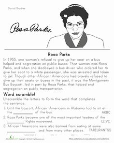 Black History Month Second Grade History Worksheets: Rosa Parks: Historical Heroes Social Studies Worksheets, Worksheets For Kids, Seasons Worksheets, Vowel Worksheets, Printable Worksheets, Printable Coloring, Free Printables, African American History Month, African History