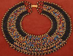 Brilliant multi color Mummy Bead Collar Necklace by thenile Beaded Collar, Collar Necklace, Beaded Necklace, Beaded Bracelets, Handmade Necklaces, Handmade Jewelry, Egyptian Mummies, Egyptian Scarab, Egyptian Jewelry