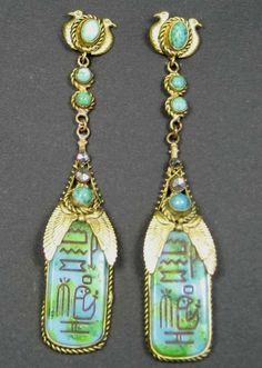 reviv earring, era jewelri, egyptian reviv, max neiger, antiqu jewelri, gillian horsup, deco era