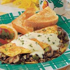 Wild Rice Mushroom Omelet. Has bulk sausage, onion, mushrooms and rice in it! Interesting combination of flavors - can't wait to try
