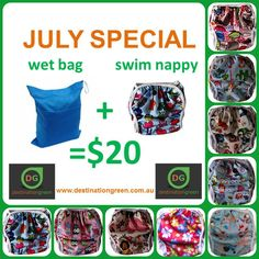 Destination Green Swim Nappy + Wet Bag Special, $20.00