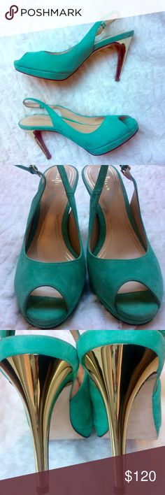 Cole Haan teal suede and gold heeled heels AMAZING teal suede peep toe pumps with gold heels. Slingback strap is adjustable. In excellent condition. Only minor flaw is pictured in fourth photo, but honestly it is hardly noticeable once worn. Nike air technology in sole for added comfort. No trades. Cole Haan Shoes Heels