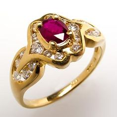 Red Ruby Engagement Ring w/ Diamonds 18K Gold
