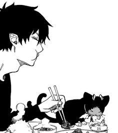 Ao no exorcist, Blue exorcist, Rin, Kuro Kuro Ao No Exorcist, Blue Exorcist Anime, Comic Anime, Manga Anime, Anime Art, Sao Anime, Rin Okumura, Manga Drawing, Cute Anime Character