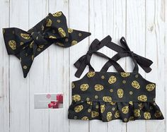 Baby, Crop top, halter, Skulls, black and gold, head wrap, bows, dia de los muertos, rockabilly, bow, girl, mommy and me, headband, outfit