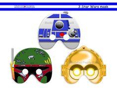 Unique Star Wars Printable Masks,Boba Fett,R2D2,C3PO,party masks,birthday,decoration,party decoration,pdf,craft project,photo booth prop