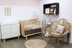 Peach and pine nursery designed by Bright Kids Interiors
