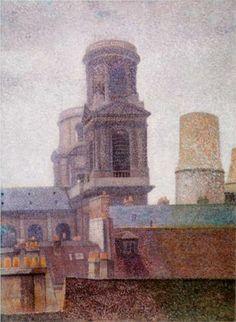 The Towers, Saint-Sulpice - Pointillism - Albert Dubois-Pillet (French: 1846- 1890)