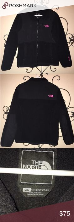 Women's North Face Fleece Denali jacket North Face size L ladies fleece breast cancer awareness jacket. Small hole on the back that's almost unnoticeable...see close up pic North Face Jackets & Coats Utility Jackets