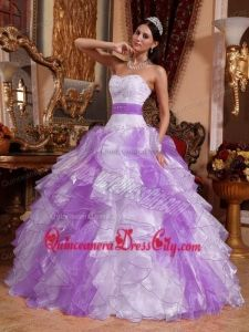 Multi-colored Ball Gown Sweetheart Organza Beading Ruffles Quinceanera Dress