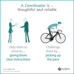 A Coordinator is thoughtful and reliable so help them shine but don't forget to challenge them. Leadership Activities, Leadership Tips, Leadership Development, Personality Profile, Personality Types, Insights Discovery, Group Dynamics, Social Entrepreneurship, Business Articles