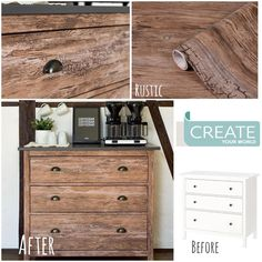 """Create Your World Ltd on Instagram: """"What an amazing #ikeahack using #dcfix rustic design, how authentic does this look? Want a real wood look on a budget? Here's a great…"""" Dc Fix, Ikea Furniture Hacks, Ikea Hack, Rustic Design, Real Wood, Budgeting, Create Yourself, World, Amazing"""