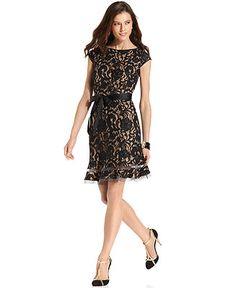 Dress, SL Fashions Cap-Sleeve Floral-Lace Dress, Macy's