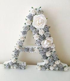 Flower Letters, Flower Wall, Wooden Flowers, Paper Flowers, Nursery Wall Art, Nursery Decor, Bedroom Decor, Girl Nursery, Art Mural Rose