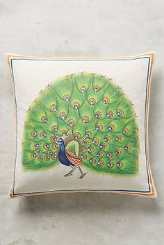 John Robshaw Green Peacock Pillow