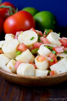 Brazilian Hearts of Palm Salad with Tomato, Onions and Lime - Get this great side dish recipe on COOKtheSTORY.com