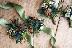 Gorgeous floral bouttonieres with silky satin ribbon in auspicious shades of blue, green and brown for those born in the year of the lunar tiger zodiac // We reached out to Singapore Feng Shui Master, Kevin Foong for his auspicious colour forecasts based on the Chinese horoscope, and are thrilled to show you these beautiful bouquets and boutonnieres for each of the auspicious colour forecast