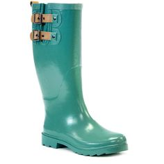 Chooka & Western Chief Jungle Green Double Buckle Rain Boot ($27) ❤ liked on Polyvore featuring shoes, boots, ankle boots, rubber ankle boots, slip on ankle boots, low heel ankle boots and rain boots
