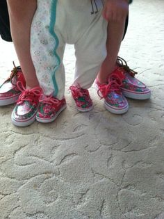 The Sperry Family.  My 3 girls with matching shoes for vacation. 1 more girl and we have an octopus. These shoes are really comfortable for kids and durable.