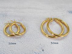 20 mm Ton Or sur Argent 3 mm Twisted haute poli Round Hoop Boucles d/'oreilles