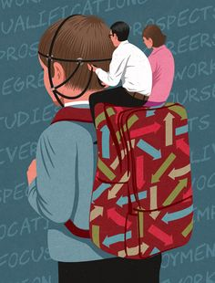 Parental control, by John Holcroft editorial and conceptual illustrator. About parents taking too much control over their child's career aspirations.