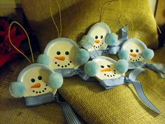 Set of five hand-painted snowman Christmas tree ornaments