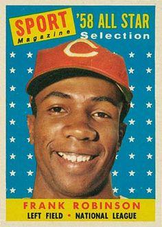 Frank Robinson 1958 Topps NL All Star Cincinnati Redlegs Baseball Trading Card minor wear Baseball Card Values, Old Baseball Cards, Baseball Star, Baseball Boys, Football, Famous Baseball Players, Mlb Players, Sports Magazine, Star Magazine