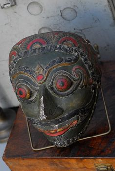 Antique Theatre Folk Mask from Indonesia, Java, Bali, 19th-20th century, carved polychromed plaster