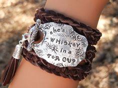 Quote Jewelry Quote Bracelet Quote Leather Wrap por HappyGoLicky