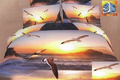 Joybuy Ocean and Seagulls Print Bedding Set Ocean Duvet Cover Sets Sky Seagull Bedding Set Cotton Queen Size Comforter Not Included