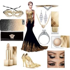 Masquerade Ball. by bananao3 on Polyvore featuring Masquerade, Oscar de la Renta, Versace, Nadri, Diamonds Unleashed, Carolee and Burberry
