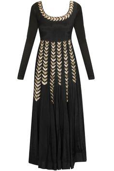 Black ferns embroidered anarkali kurta available only at Pernia's Pop Up Shop.#pratyushagarimella #newcollection #festive #designer #clothing