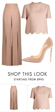 """""""total nude"""" by debbiecollinsj ❤ liked on Polyvore featuring Cushnie Et Ochs, Valentino and Christian Louboutin"""