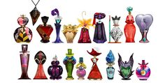The voluminous amount of Disney fanart demands that a project be truly unique to stand out from the pack. These clever Disney villain perfume bottle illustrations fit the bill . Disney Magic, Disney Dream, Disney Amor, Disney Love, Evil Disney, Disney Stuff, Disney E Dreamworks, Disney Pixar, Walt Disney