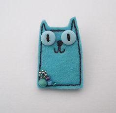 Blue Felt Cat Brooch
