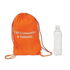 Small Orange Personalized Drawstring Backpacks