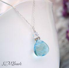 Blue Swarovski Heart Briolette Necklace Sterling Silver by NMBeadsJewelry