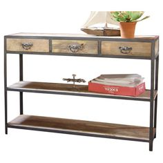 Iron and mango wood console table with 3 drawers and 2 open shelves. 500.00 Product: Console tableConstruction Material: