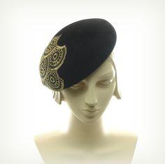 Black Beret Hat for Women 1940s Fashion Hat Black Fur Felt Hat w Gold Applique