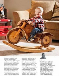 Rocking Motorcycle Plans - Children's Wooden Toy Plans and Projects Woodworking For Dummies, Woodworking For Kids, Woodworking Projects Diy, Woodworking Plans, Woodworking Videos, Wood Projects For Kids, Diy Wood Projects, Project Ideas, Wooden Car