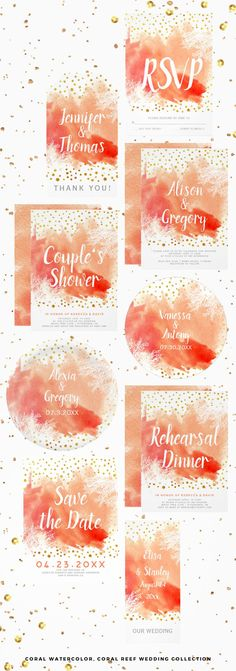 Coral peach watercolor, gold foil confetti and coral reef beach wedding collection. Coral Wedding Invitations, Watercolor Wedding Invitations, Wedding Stationery, Wedding Cards, Our Wedding, Wedding Ideas, Coral Gold Weddings, Gold Wedding Decorations, Balloon Decorations