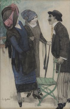 Artwork by Leo Gestel, Conversation on the boulevard, 1910 Made of pastel, charcoal on paper Piet Mondrian, Dutch Painters, Post Impressionism, Dutch Artists, Global Art, Cubism, French Art, Leo, Art Market