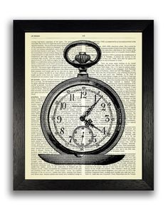 Pocket Watch Art Print Poster on Dictionary by TopLondonPrints