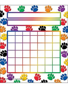 Teacher Created Resources Colorful Paw Prints Incentive Charts Fill up charts with mini stickers to motivate students to do their best. Record progress in homework, classroom assignments, attendance, or good behavior. Classroom Behavior, Classroom Themes, Future Classroom, Classroom Teacher, Music Classroom, Teacher Created Resources, Teacher Supplies, Behaviour Chart, Reading Rainbow