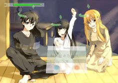 Kirito, Asuna, and Yui. Although, Yui is an immortal object, she wouldnt need the health point thing.