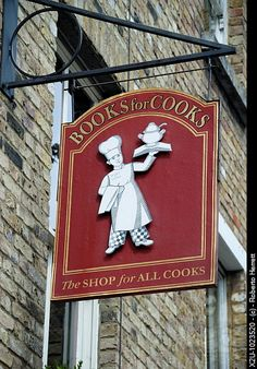 Books for Cooks bookshop in Notting Hill, London, England This is definitely a must! And bring home their hand published cookbooks, i use mine all the time. London Calling, I Love Books, Good Books, Cafe Sign, Pub Signs, Notting Hill, Store Signs, Sign I, Stock Pictures