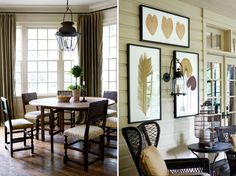 dining room and porch with pressed leaf prints and dark wicker